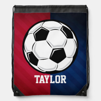 Soccer Ball; Red, White, and Blue Cinch Bags