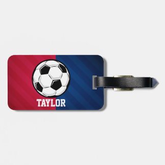Soccer Ball; Red, White, and Blue Luggage Tag