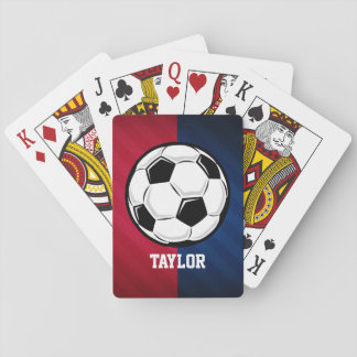 Soccer Ball; Red, White, and Blue Poker Cards