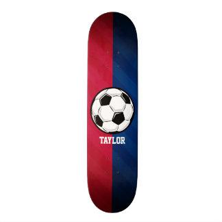 Soccer Ball; Red, White, and Blue Skateboard