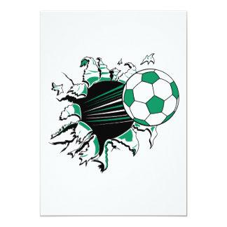soccer ball ripping thru 5x7 paper invitation card