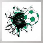 soccer ball ripping thru poster