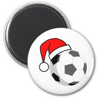 Soccer Ball (Santa Hat) 2 Inch Round Magnet
