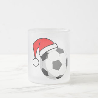 Soccer Ball (Santa Hat) Frosted Glass Coffee Mug