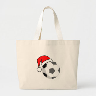 Soccer Ball (Santa Hat) Large Tote Bag