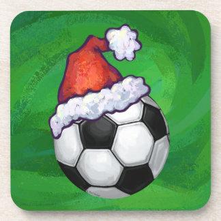 Soccer Ball Santa Hat on Green Beverage Coaster