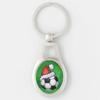 Soccer Ball Santa Hat on Green Keychain