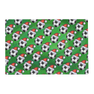 Soccer Ball Santa Hat Pattern on Green Placemat