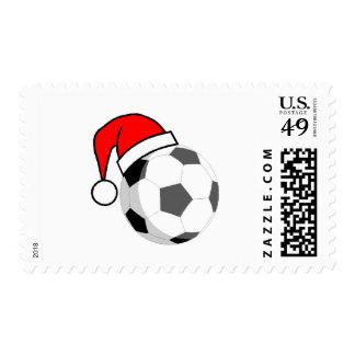 Soccer Ball (Santa Hat) Postage Stamp