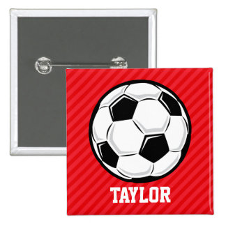 Soccer Ball; Scarlet Red Stripes 2 Inch Square Button