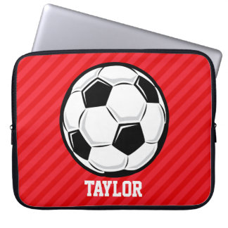 Soccer Ball; Scarlet Red Stripes Computer Sleeve