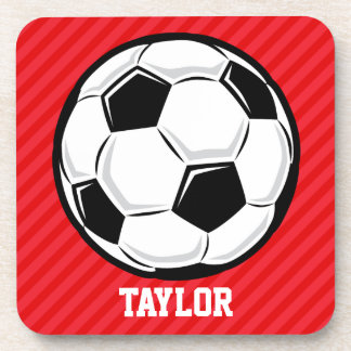 Soccer Ball; Scarlet Red Stripes Coasters