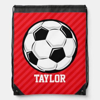 Soccer Ball; Scarlet Red Stripes Drawstring Bag