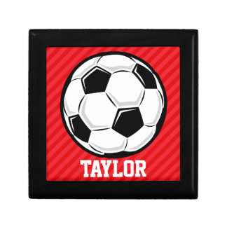 Soccer Ball; Scarlet Red Stripes Jewelry Boxes