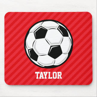 Soccer Ball; Scarlet Red Stripes Mouse Pad