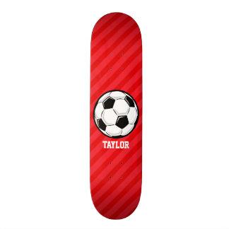 Soccer Ball; Scarlet Red Stripes Skateboard
