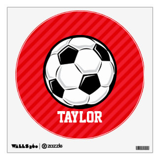 Soccer Ball; Scarlet Red Stripes Wall Graphics