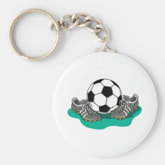 Soccer Ball Shoes Basic Round Button Keychain