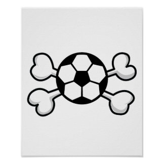 soccer ball Skull and Crossbones Posters