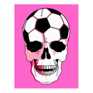 soccer ball skull head girl pink accents postcard