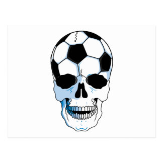 soccer ball skull head postcard