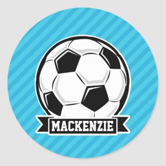 Soccer Ball; Sky Blue Stripes Classic Round Sticker