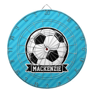 Soccer Ball; Sky Blue Stripes Dartboards