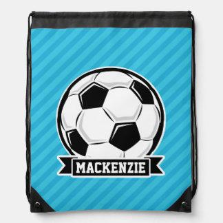 Soccer Ball; Sky Blue Stripes Drawstring Backpack