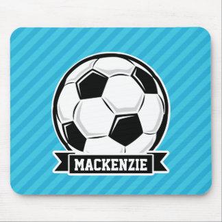 Soccer Ball; Sky Blue Stripes Mouse Pad
