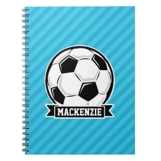Soccer Ball; Sky Blue Stripes Notebook
