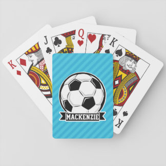 Soccer Ball; Sky Blue Stripes Playing Cards
