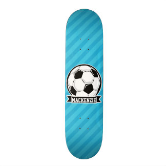 Soccer Ball; Sky Blue Stripes Skateboard