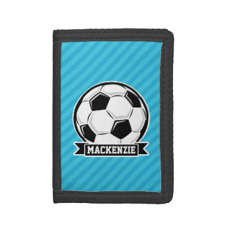 Soccer Ball; Sky Blue Stripes Trifold Wallet