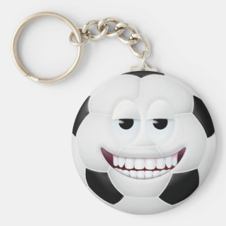 Soccer Ball Smiley Face 2 Basic Round Button Keychain