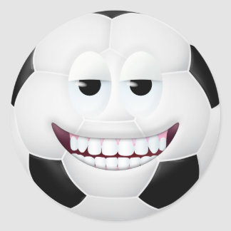 Soccer Ball Smiley Face 2 Classic Round Sticker