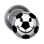 Soccer Ball Smiley Face 2 Inch Round Button