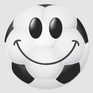 Soccer Ball Smiley Face Classic Round Sticker