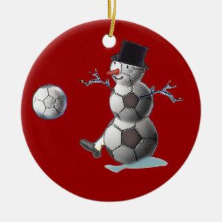 Soccer Ball Snowman Ceramic Ornament