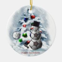 Soccer Ball Snowman Christmas Ceramic Ornament