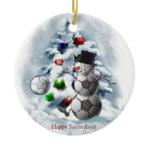 Soccer Ball Snowman Christmas Ceramic Ornament