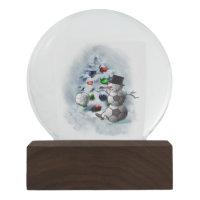 Soccer ball Snowman  Christmas Snow Globe