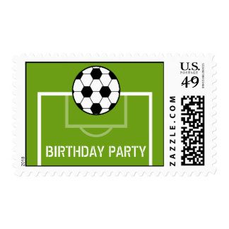 Soccer Ball & Soccer Field Birthday Party Postage