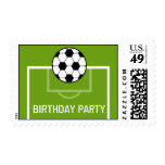 Soccer Ball & Soccer Field Birthday Party Postage Stamps