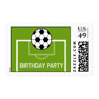 Soccer Ball & Soccer Field Birthday Party Stamp