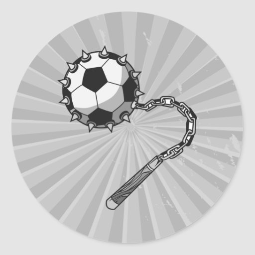 soccer ball spike mace graphic classic round sticker