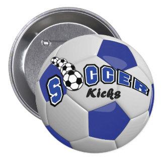 Soccer Ball Sport Kicks   Dark Blue Button