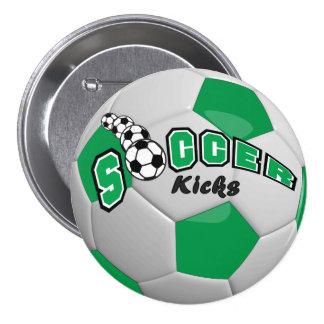 Soccer Ball Sport Kicks   Green Pinback Button