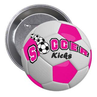 Soccer Ball Sport Kicks   Hot Pink Pinback Button