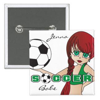 Soccer Ball Sports Girl | Green Pinback Button
