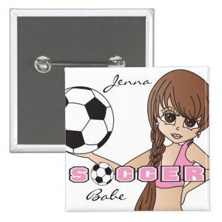 Soccer Ball Sports Girl | Pink Pinback Button